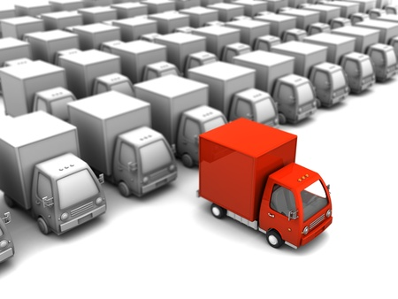 white van: 3d illustration of red delivery truck selected from many gray