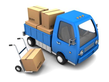 白い背景の上の段ボール箱とトラックの 3 d イラストレーション