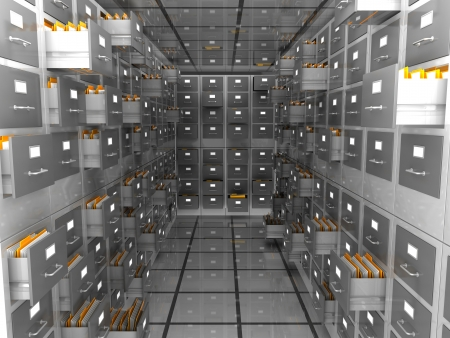 data storage: abstract 3d illustration of data storage room