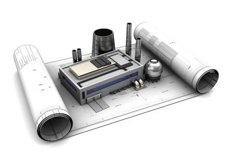 3D-afbeelding van de fabriek ontwerp en blauwdrukken, over witte achtergrond