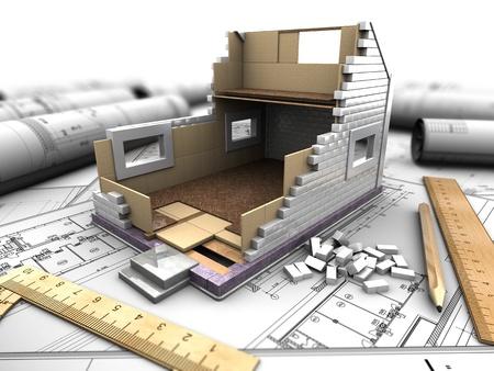3D-afbeelding van een modelwoning op de achtergrond tekeningen