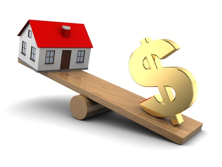 for rent: abstract 3d illustration of house and dollar seesaw Stock Photo