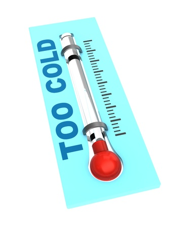 calibrated: 3d illustration of thermometer with cold temperature