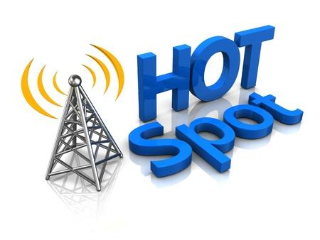 hotspot: 3d illustration of wireless hotspot