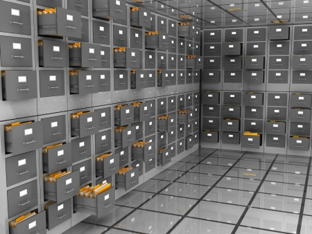 storage room: abstract 3d illustration of data storage room