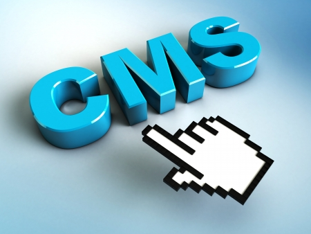3d hand cursor points to a CMS photo