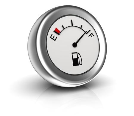 gasoline station: 3D, indicatore del carburante circolare isolato su sfondo bianco