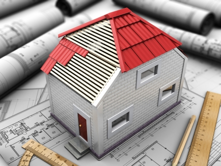 housetop: 3d scale model of the home with red roof