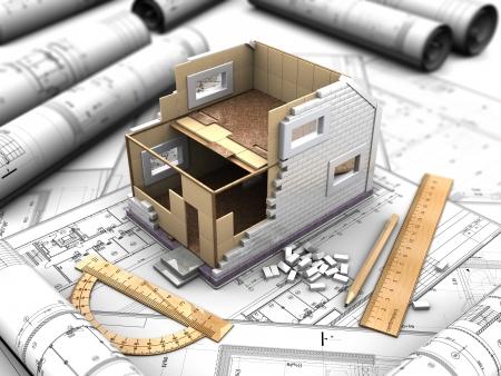 3d illustratie van een twee verdiepingen tellende huis plan en tekeningen Stockfoto