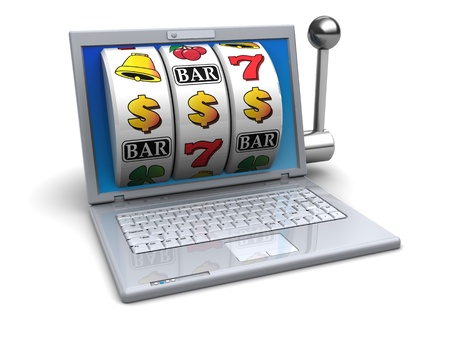 3d illustration of laptop with slot machine jackpot at screen Stock Illustration - 19375359