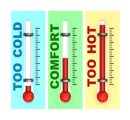 calibrated: 3d illustration of three thermometers isolated over white background Stock Photo