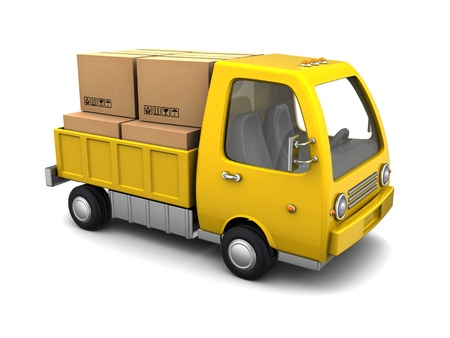 3d illustration of small business truck with boxes, over white background illustration