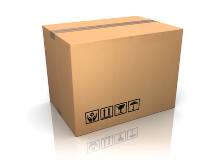 closed box: 3d illustration of cardboard box over white background Stock Photo
