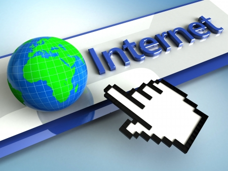 internet symbol: 3d illustration hand cursor points to the global Internet