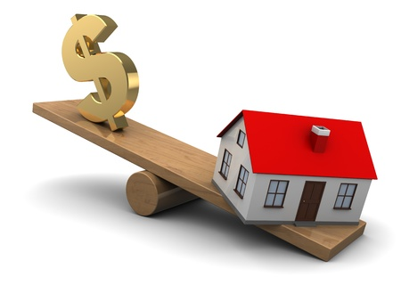 foreclosure: abstract 3d illustration of house and dollar seesaw Stock Photo