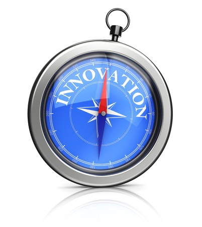 3d illustration of compass pointing to innovation Stock Illustration - 19553465