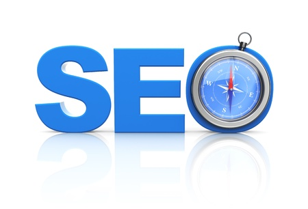 3d images of seo blue word and modern compass over white background Stock Photo - 19553464