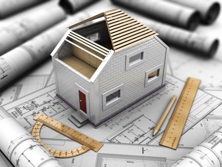 prefabricated buildings: 3d ilustraci�n de proyecto rchitectural de casa, techo funciona