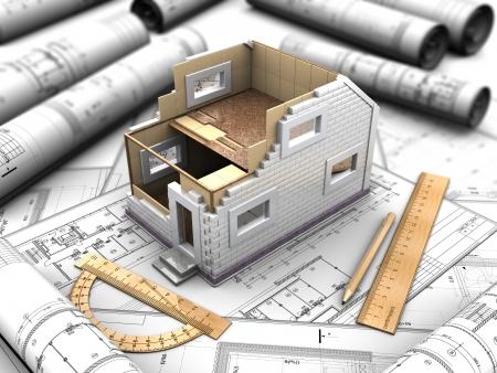 抽象的な背景のプレハブの家の 3 d モックアップ
