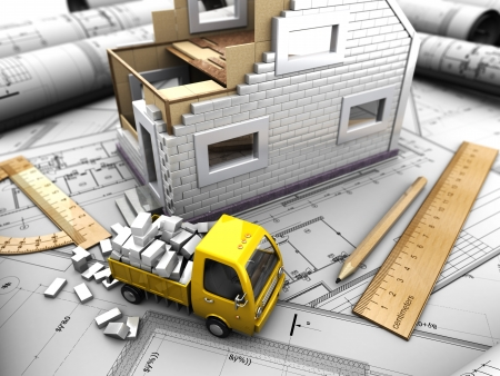 detached house: 3d illustration of truck and model of house on abstract background Stock Photo