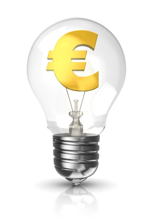 3d light bulb with a euro sign in gold photo