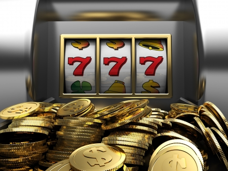 casino machine: 3d illustrations of slot machine win line and prize Stock Photo