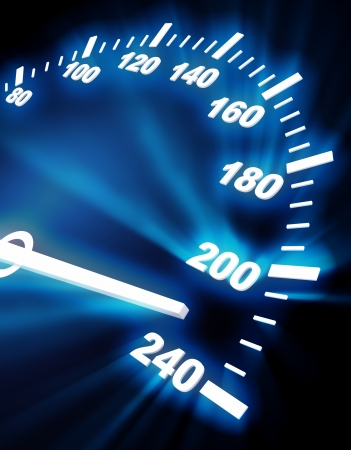 high angle view: 3d image of speedometer faceplate on black background with blue lighting