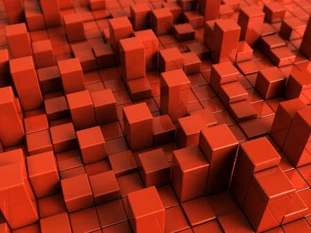 red cube: abstract 3d illustration of red boxes background
