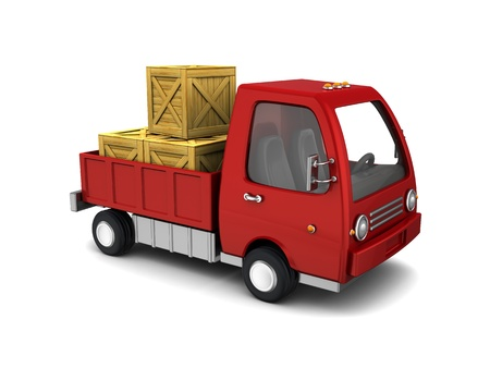 hand truck: 3d illustration of small red truck with crates