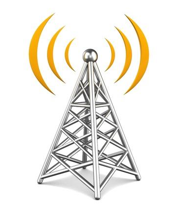 通信: タワーの無線装置の 3 d 図 写真素材