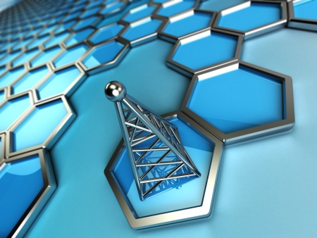 communications tower: 3d background is blue hexagons with a steel tower