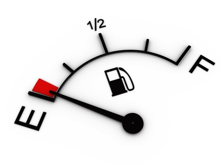 empty tank: 3d illustration of fuel gauge showing low level Stock Photo
