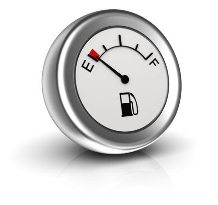 3d pictogram van de brandstofmeter geeft lege tank