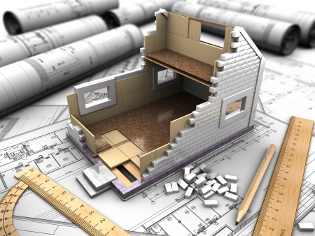architecture model: 3D structure of the floors of the house on the background blueprints Stock Photo