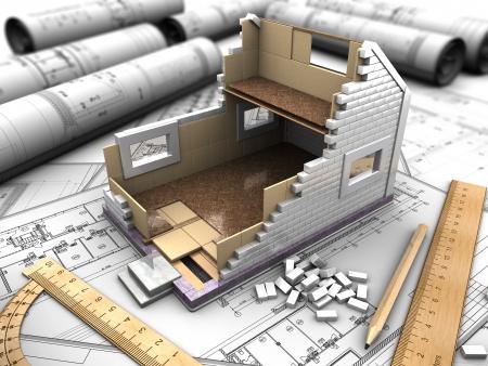 prefabricated buildings: Estructura 3D de los pisos de la casa en los planos de fondo Foto de archivo