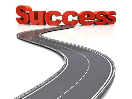 road to success: 3d illustration of road to success concept, over white background Stock Photo