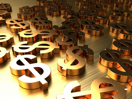 3d abstract background with golden signs of dollars photo