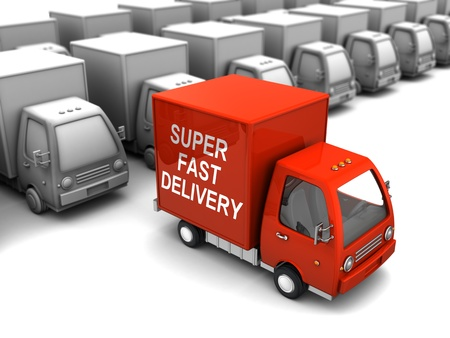 overs: conceptual 3d illustration of choice fast delivery from many overs