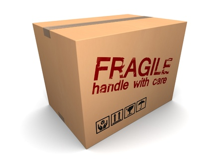 3d illustration of cardboard box with fragile sign illustration