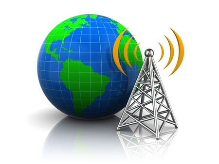 communications tower: 3d render of globe and wireless communication tower Stock Photo