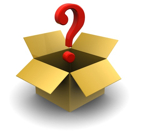 enigma: 3d illustration of cardboard box with question mark