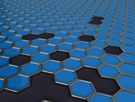 vanish: 3d illustration of hexagons on black background