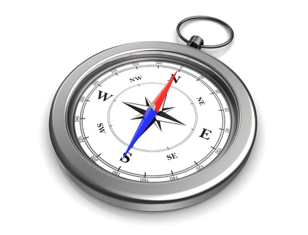 3d image of pocket compass with clipping paths photo