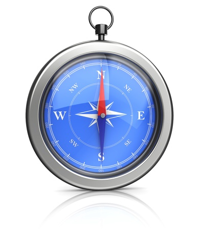 silvery: front view on 3d silvery compass over white background Stock Photo