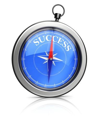 3D illustratie van de moderne kompas wijst naar succes Stockfoto