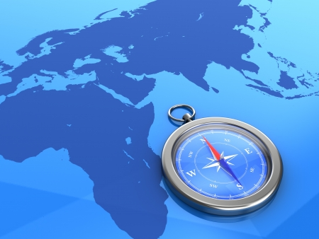3d illustration of compass on the world map background illustration