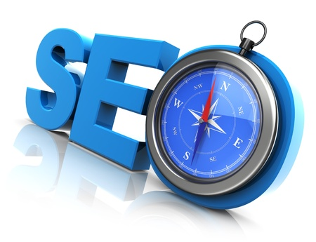 3d illustration of compass and acronym for search engine optimization Stock Illustration - 20296921