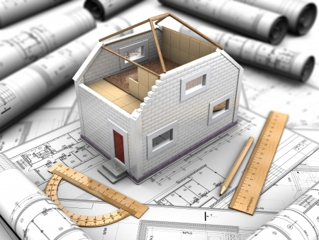 prefabricated: 3d illustration of layout a home Stock Photo