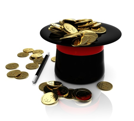 conjuring: top hat conjuring with coins Stock Photo