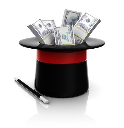 3d illustration of magic top hat with hundred dollar bundles Stock Illustration - 20296879